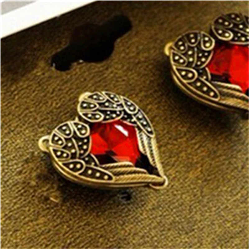 Fashion Jewelry For Women Love Earrings Heart Red Main Stone Crystal Earing Stud Earrings Retro Old Jewelry Accessories E0117
