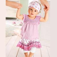 Ropa de bebé a granel bebé muchacha del juego de vestido babygirl ropa set baby girl pink ropa de verano set 1er cumpleaños traje
