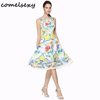 Comelsexy Womens Summer Dress 2017 Floral Retro Vintage 50s 60s Casual Party Robe Rockabilly Dresses Plus