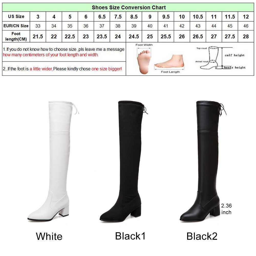 Moeitna/высокие сапоги до бедра женские зимние Ботфорты высокие сапоги на высоком массивном каблуке белые, черные сапоги с бантом на шнуровке, большие размеры 34-43