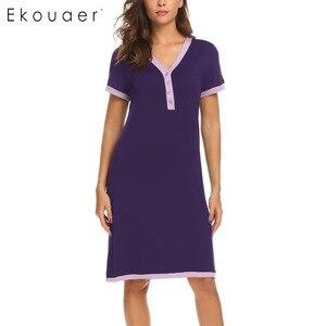 Image 5 - Ekouaer sukienka wieczorowa koszule nocne bielizna nocna macierzyństwo karmienie piersią koszula nocna domowa koszulka z krótkim rękawem damska dekolt nocna koszula nocna