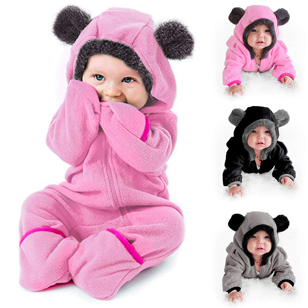 Toddler Baby Girl Boy Cartoon Cute  Striped Ear Hooded Romper Jumpsuit Outfit