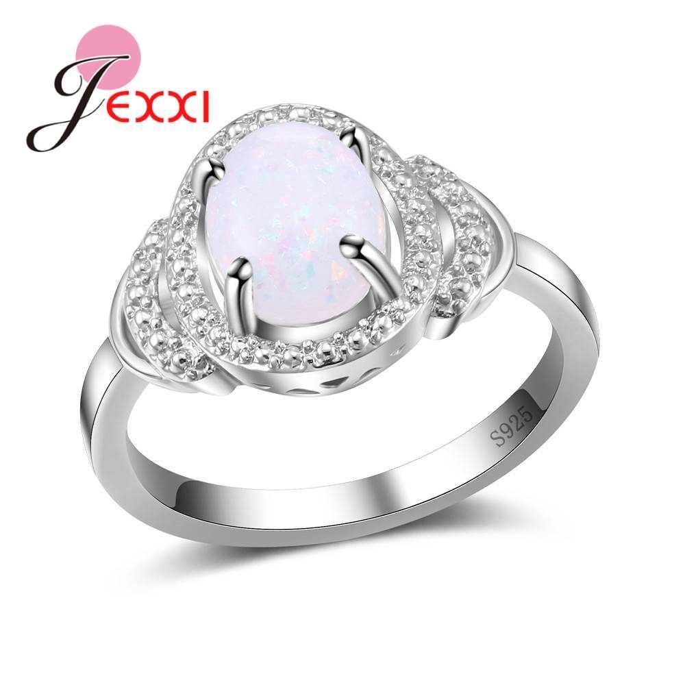 น่ารักสีขาวและสีชมพูน่ารัก 925 เงินสเตอร์ลิงแหวนผู้หญิงเครื่องประดับแหวนโอปอลขายส่งราคา