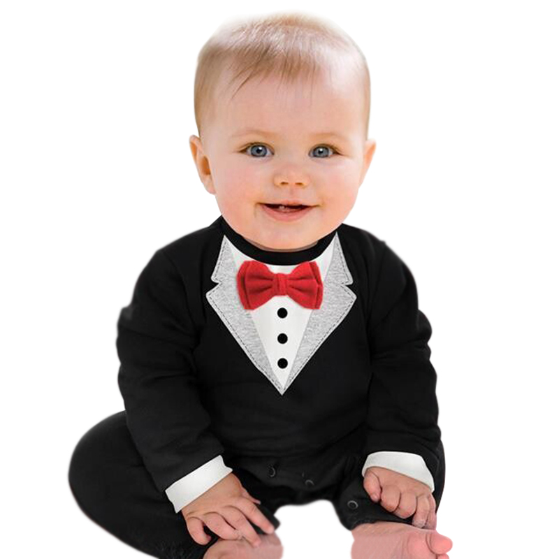 2018 Brand Baby Rompers Gentleman Costumes Party Wedding Tuxedo Suit Bowtie Baby Boys Clothing Black White Newborn Infant Outfit