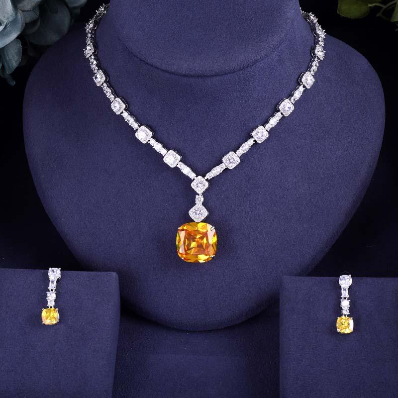 Earrings Jewelry-Sets Wedding-Necklace Yellow-Stone Janeklly Full-Cubic-Zirconia Pendientes