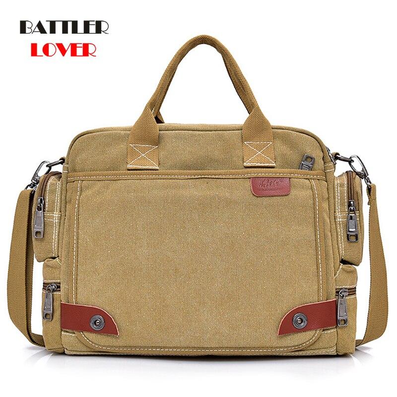 Laptop Briefcase Messenger-Shoulder-Bag Canvas Satchel Crossbody-Sling Men's NEW
