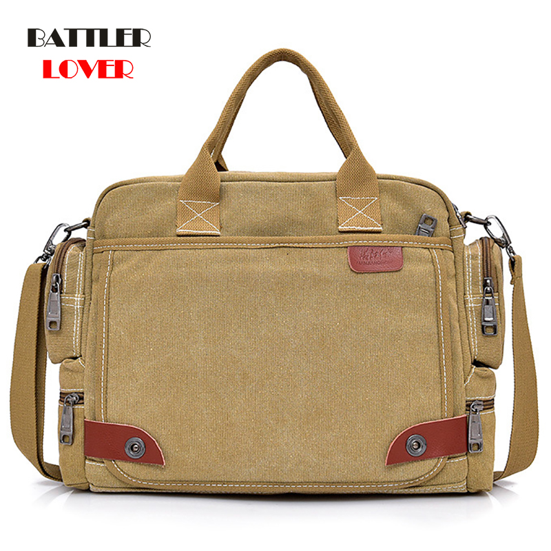2019 NEW Leather Briefcases Men Laptop Briefcase Men's Canvas Messenger Shoulder Bag Mens Crossbody Sling Briefcase Bags Satchel