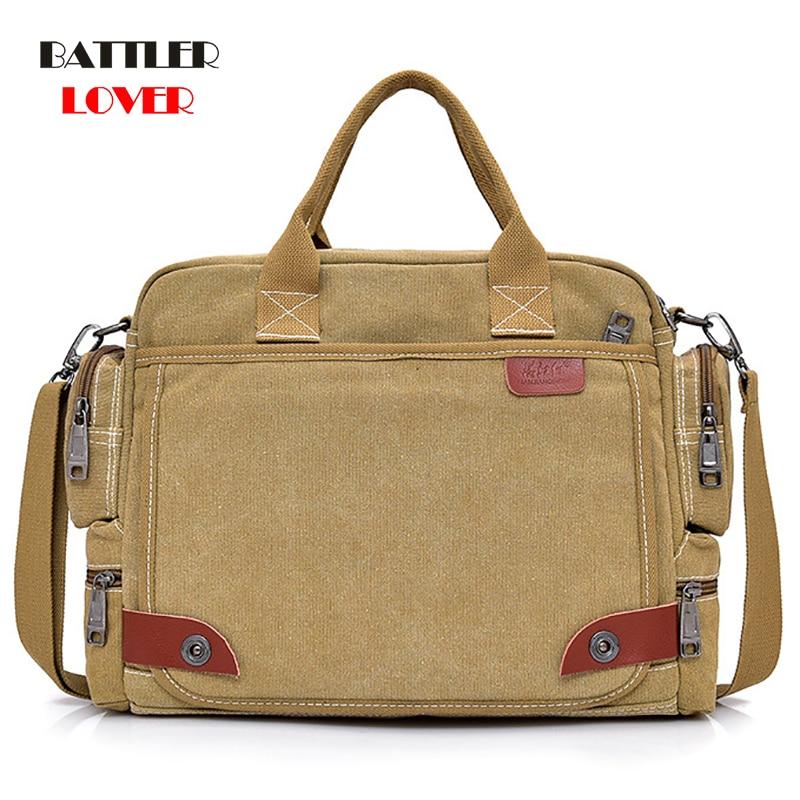 2019 NEW Leather Briefcases Men Laptop Briefcase Men's Canvas Messenger Shoulder Bag Mens Crossbody Sling Briefcase Bags Satchel