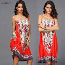 Fadzeco Dashiki African Dresses For Women Clothes Ankara Ethnic Pattern Short Lady Elegant Dress Sexy Gown Vintage Bandage Skirt(China)
