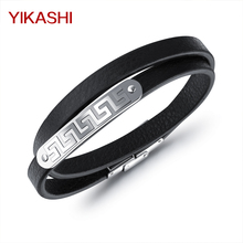 Double Layer Leather Rope Chain Man Bracelets Classical Simple Design Black Color Stainless Steel Bracelets& Bangles Men Jewelry