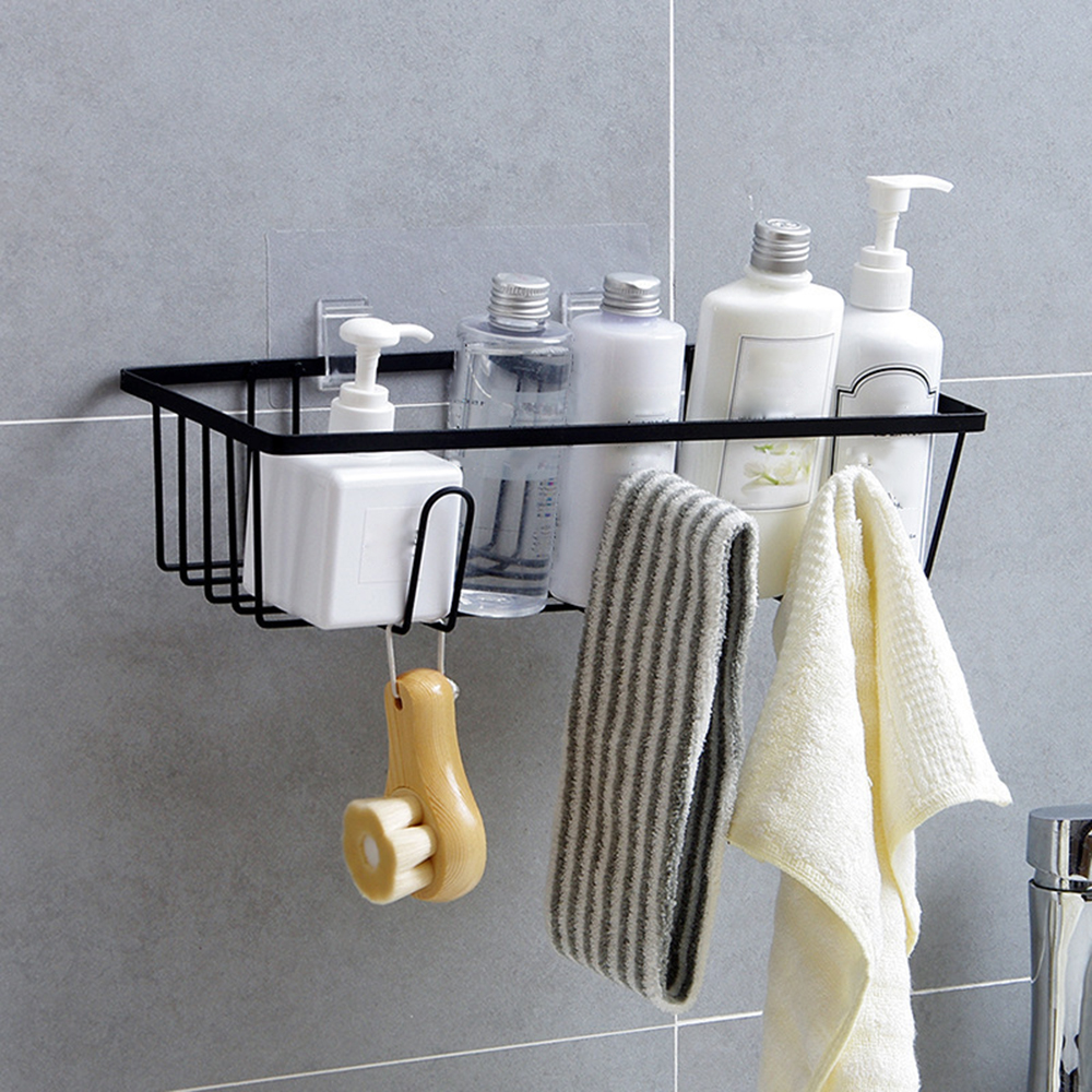 New Useful Iron Storage Rack Bathroom Shampoo Towel Holders Kitchen Home Storage Shelf  No Drill Wall Hanging Storage Box