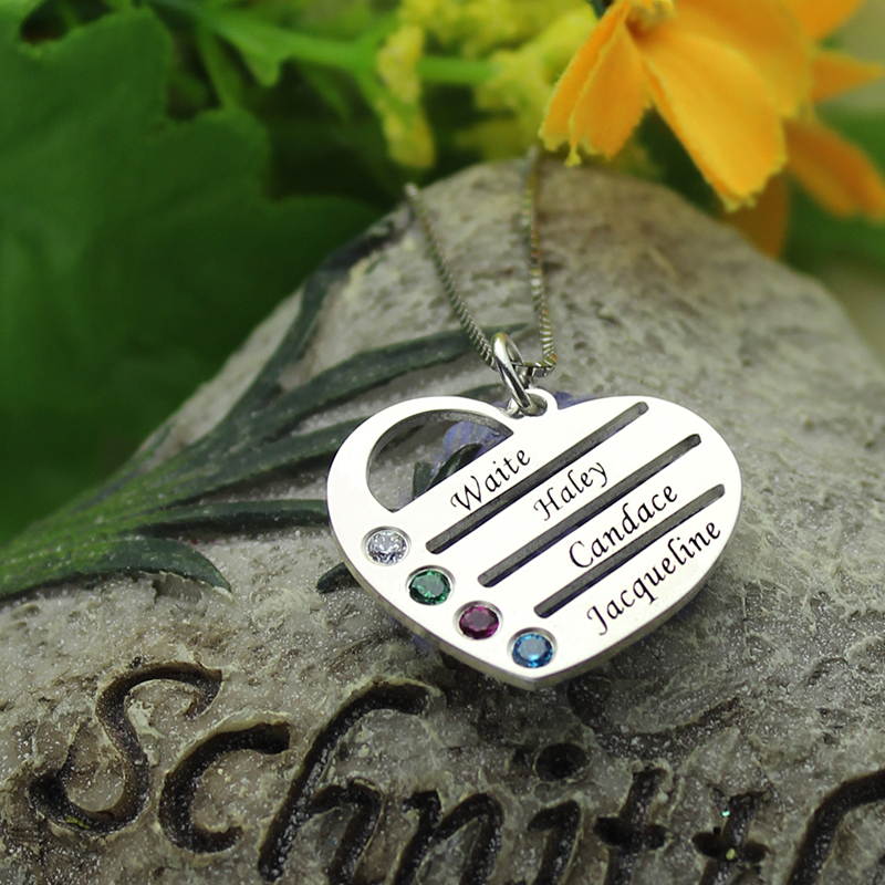 f4a712aff69cd Wholesale Family Necklace with Kids Names Engraved Heart Mother Necklace  Silver Birthstone Jewelry Christmas Gift for Mom