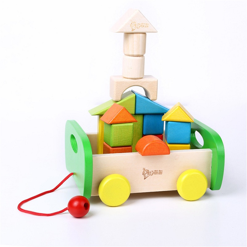 SUKIToy Wooden Toy Big Building Block Set 17PCS Kid's Soft Montessori cube Educational Classic toys high quality gift for infant three voices one heart