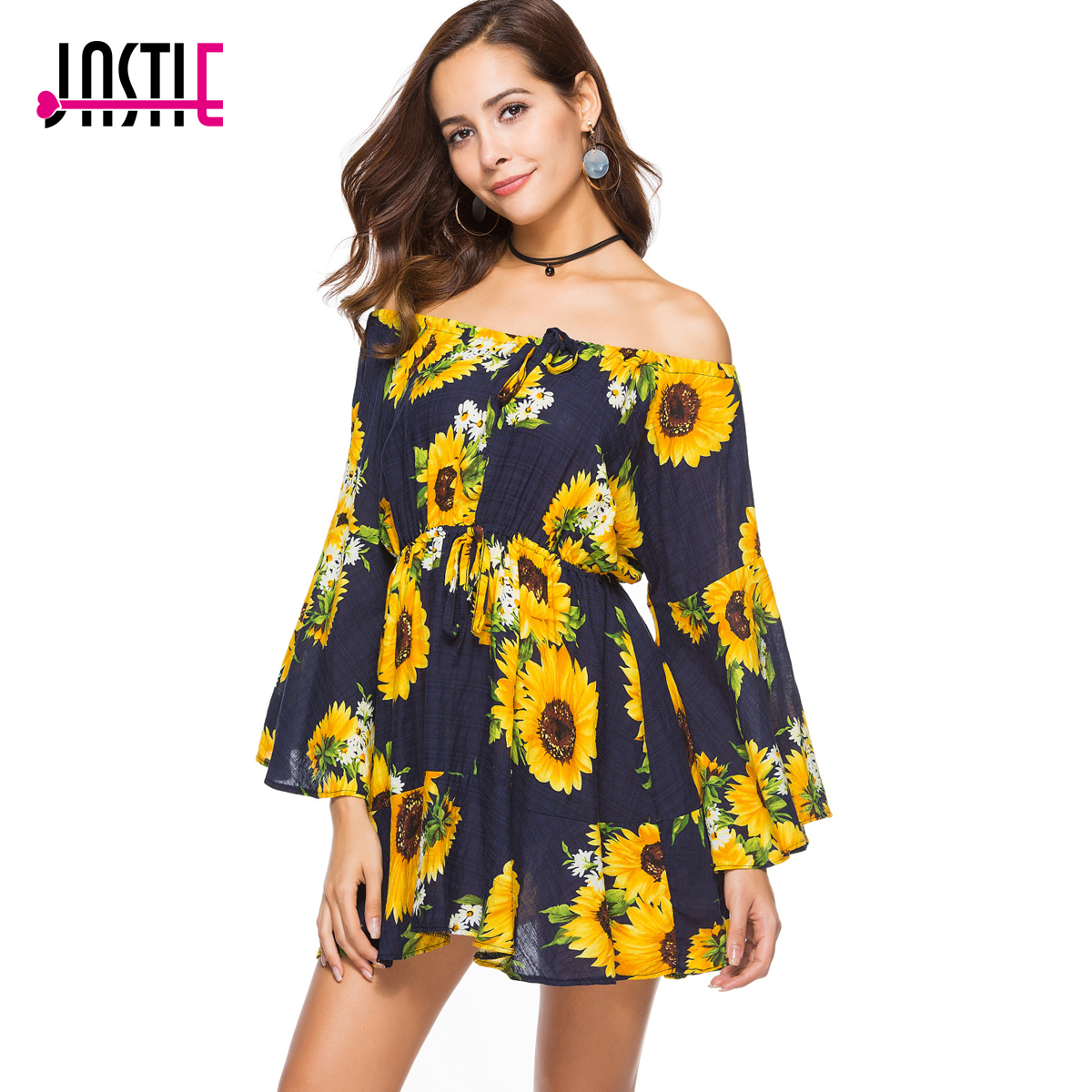 8e7fc52dbaac Aliexpress.com : Buy Jastie Slash Neck with Tie Sexy Mini Dress Sunflower  Print Summer Dress Bohemia People Hippie Beach Dresses 2018 Women Vestidos  from ...