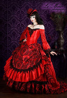Custom Made Red Gothic Victorian Steampunk Antoinette Fantasy Masquerade Gown Bridal Dress Party Dress