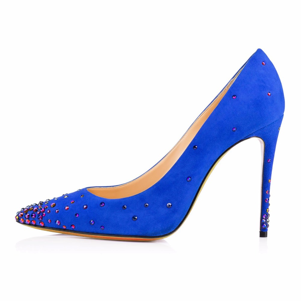 ФОТО 2016 New fashion solid stiletto high heels pumps slip on with Rhinestone women's shoes Free shipping customize big size4-15
