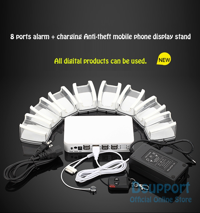 8 Ports Mobile <font><b>Phone</b></font> Tablet PC Anti Theft Burglar Device <font><b>Phone</b></font> <font><b>Alarm</b></font> Charging Security Display <font><b>Stand</b></font> Mobile <font><b>Phone</b></font> Security Box