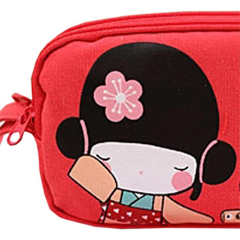BEAU 5 X Cute Japanese Girl Print Canvas Phone Bag Double Zipper Purse Coin Bag Red