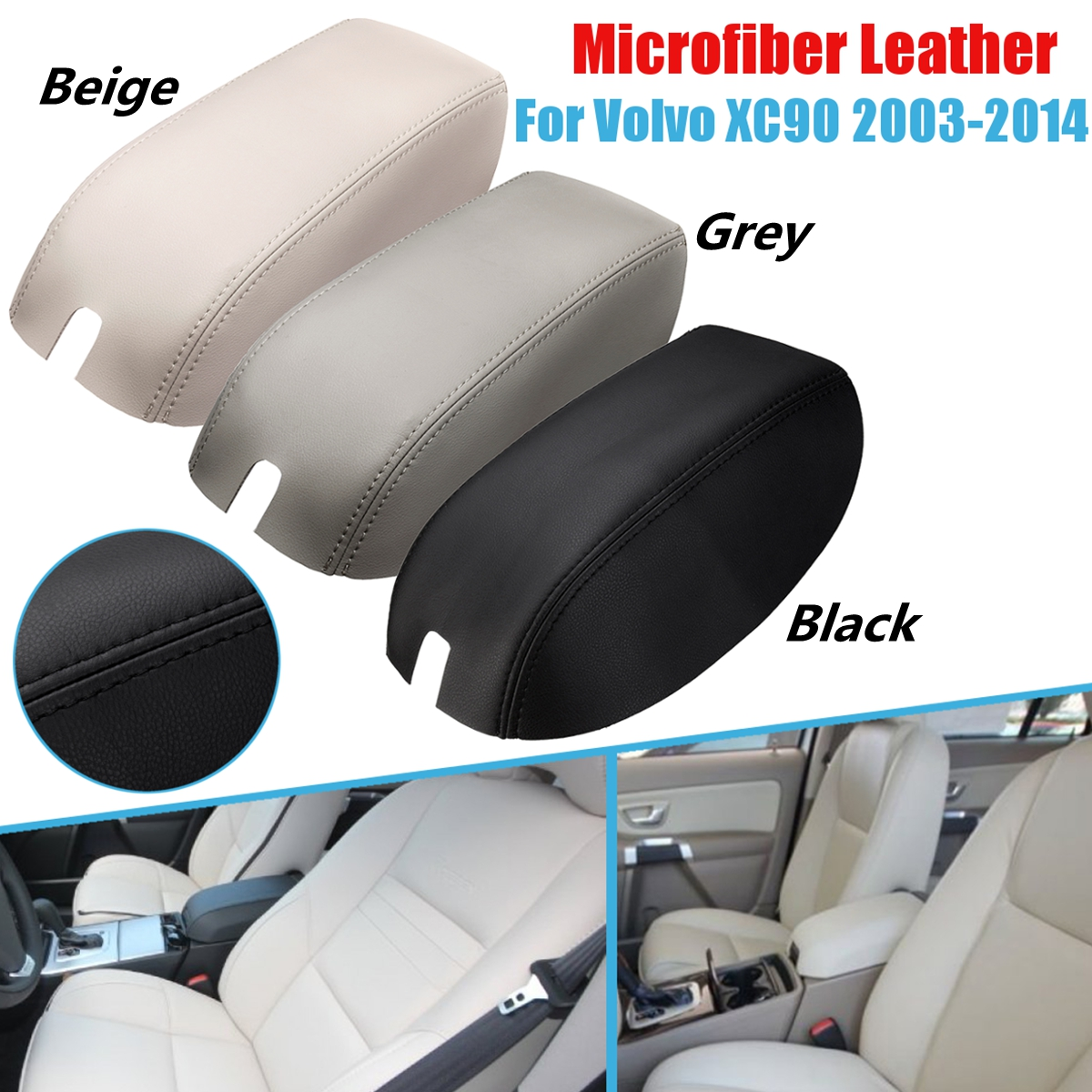 3 Colors Car Armrest Cover Leather Center Console Lid for For Volvo <font><b>XC90</b></font> <font><b>2003</b></font> 2004 2005 2006 2007 2008 2009 2010 2011-2014 image