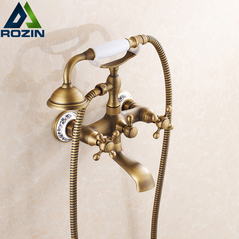 Luxury Telephone Style Bathtub Mixer Faucet Wall Mounted Rotate Tub Filler Bath Shower Hot and Cold Water Taps with Handshower luxury wall mounted antique brass clawfoot bathtub faucet telephone style bath shower water mixer tap with handshower