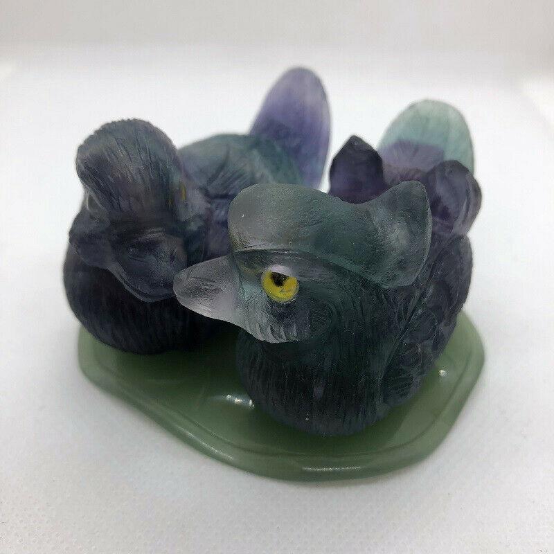 Cristal de Fluorite sculpté pierre gemme mandarine canard Reiki cadeaux de guérison décoration de la maison en pierre sculptée Figurine en cristal pierre gemme