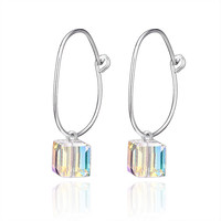 VOJEFEN Fashion 925 Sterling Silver Cube Crystal Circle Earrings with Swarovski Crystals Drop Dangle Earrings Jewelry for Her