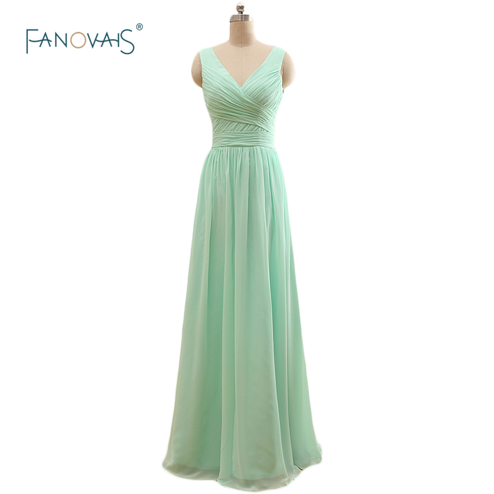 Simple 2017 Three Styles Multi Color A Line Mint Green Chiffon Bridesmaid Dresses Long Wedding Party Dress Maid of Honor BW01