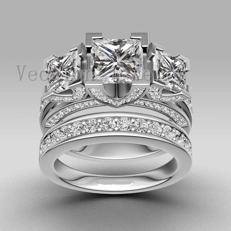 Vecalon Handmade Thời Trang Nhẫn Cưới Nhẫn Cho Nữ 6ct 5A Zircon CZ Nhẫn Nữ Bạc 925 Đính Nhẫn