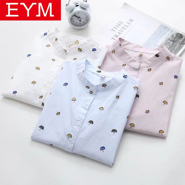 EYM Brand   Blouse   Women 2019 New Spring Casual Print   Shirt   Ladies   Blouses   Cotton Long Sleeve   Shirt   Simple Style Lady Tops Blusas