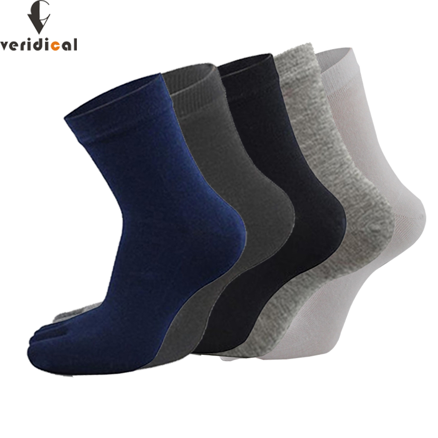 Veridical 5 Pairs/lot Mens Business Dress Five Finger Toe Socks High Solid 100 Cotton Long Sox High Quality Meias Masculino Professional Design Underwear & Sleepwears
