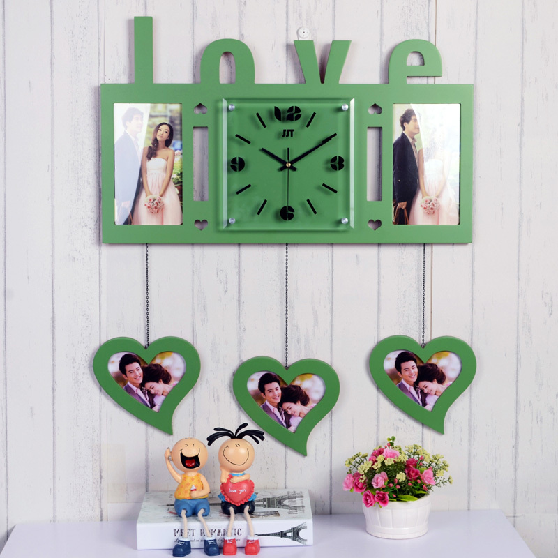 Love Creative Fashion Photo Frame Wall Clock Personalized Wedding Bedroom Modern Wooden Clocks Mute Hanging Table In From Home