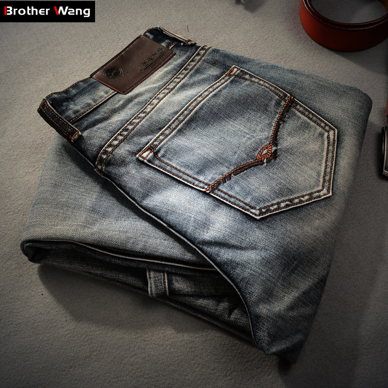Brother Wang Brand men's clothing 2019 New Men 's   Jeans   fashion Retro Slim small straight   jeans   for men casual men trousers