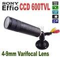 """Mini bala câmera 1/3 """"sony ccd 600tvl bala câmera de segurança cctv com 4-9mm varifocal lente zoom câmera"""