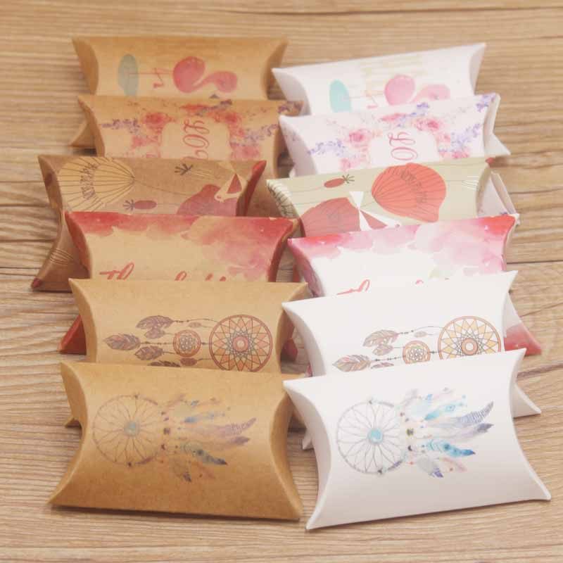 20pc New Arrival Multi Design Gifts Pillow Box DIy Paper Thank You/flower Styles Gifts Box Marbel/Dreamcatcher Party Gifts Bag