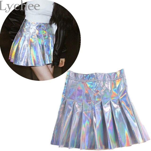 Летная плиссированная юбка женская Harajuku голографические металлические серебристые плиссированные мини-юбки  школьная юбка