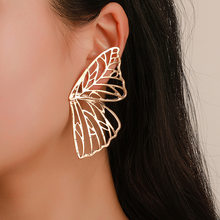 Wings Brooch For Women Earrings Inlaid Crystal Ear Jewelry Earring Party Gothic Feather Earrings Fashion Bijoux(China)