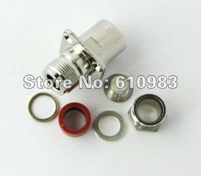 Free shipping (5 pieces/lot) N female flange 4 hole panel mount connector nickelplated Jack for coaxial cable free shipping 5 pieces lot 8pin din female jack to male plug 2 hole panel mount chassis connector adapter