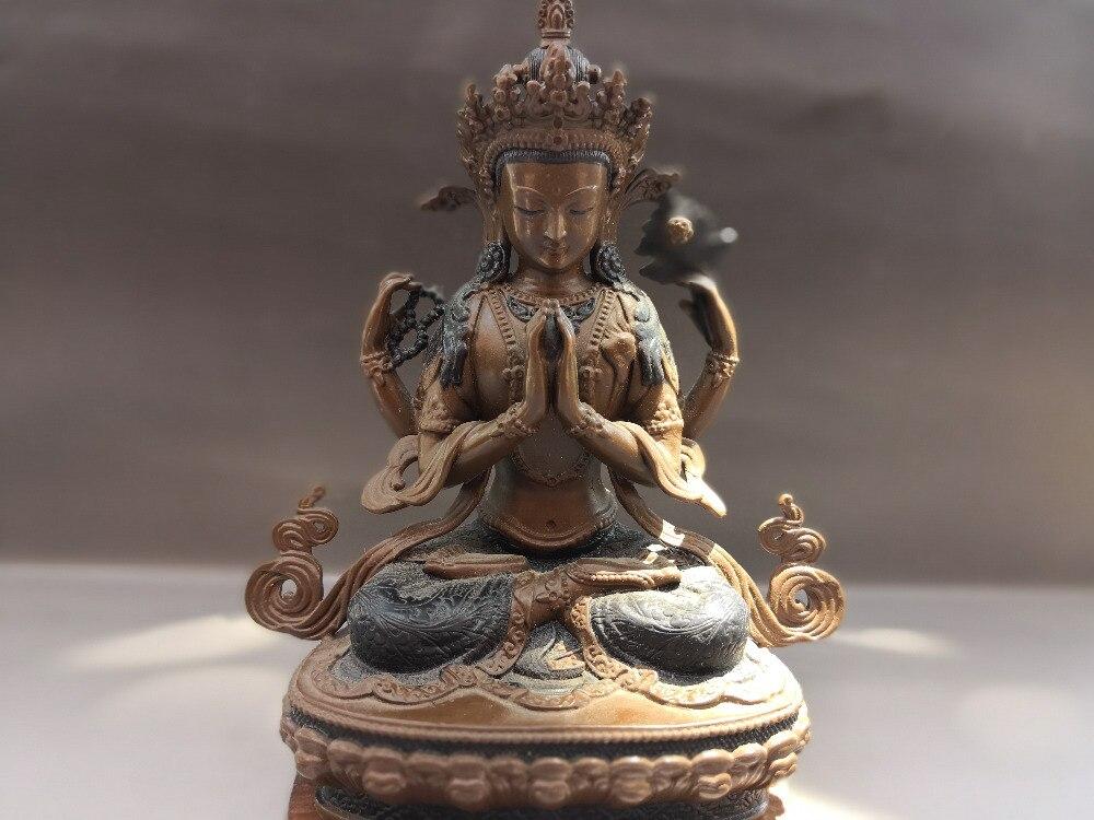 Китай Старый тибетский Буддизм Медь бодхисаттва манджушри статуя