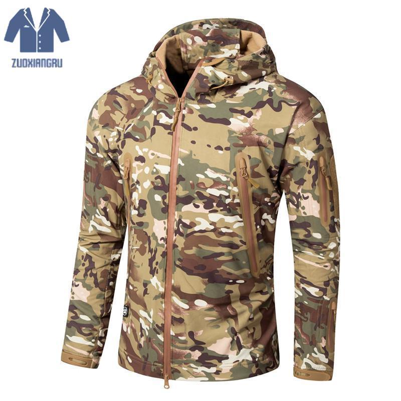 Lurker peau de requin coque souple veste tactique militaire hommes imperméable coupe-vent manteau chaud Camouflage à capuche Camo armée vêtements