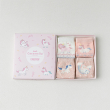 4 Pairs/lot Unicorn Socks 100% Cotton Baby Girl Pink for Girls Gift with Box