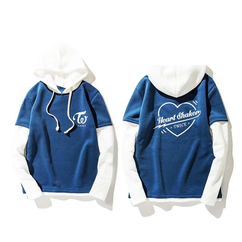 New Kpop Twice Heart Shaker Autumn Winter Men Women Unisex Hoody Hooded Hoodies Blue And White Sweatshirt Pullover
