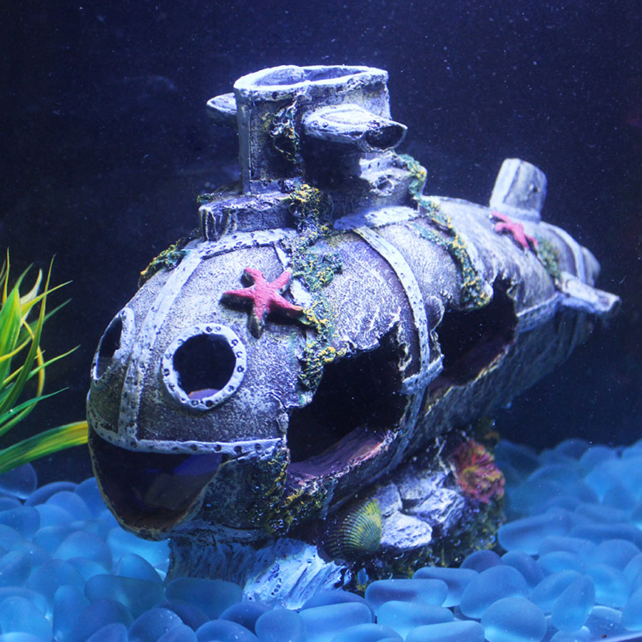Sunk ship aquarium ornament wreck sunk submarine fish tank for Aquarium decoration ship