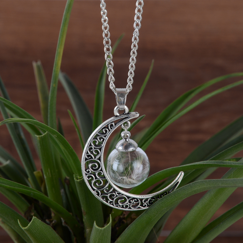 Cute lovely Silver Moon Ball Vial Necklace