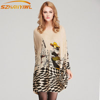 SZHANYIWL Knitted sweater dress 2018 autumn fashion new women fat MM large size Loose large print sleeve o-neck mini vestidos