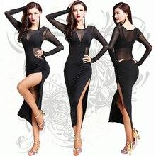 Платье для латинских танцев, 1 шт., нейлон, шелк, для женщин/леди/женщин, платья для соревнований, сальса/бальные/ча-ча/латинская Одежда для танцев