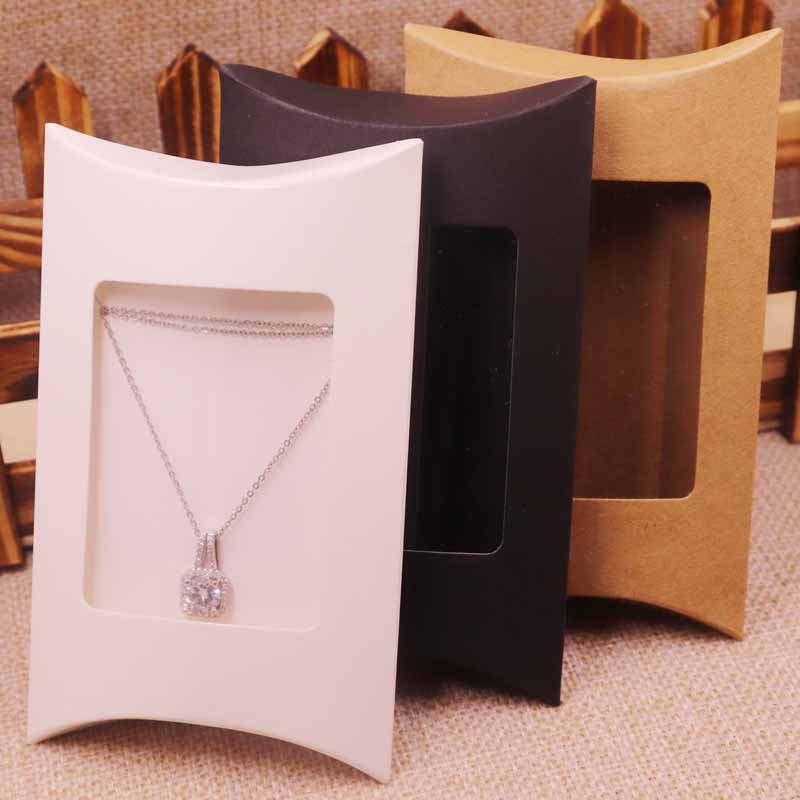 10pcs Box &10 Inner Card  2018  New DIY  Kraft Paper Window Pillow Box Necklace Jewelry Display  Clear Pvc Pillow   Box