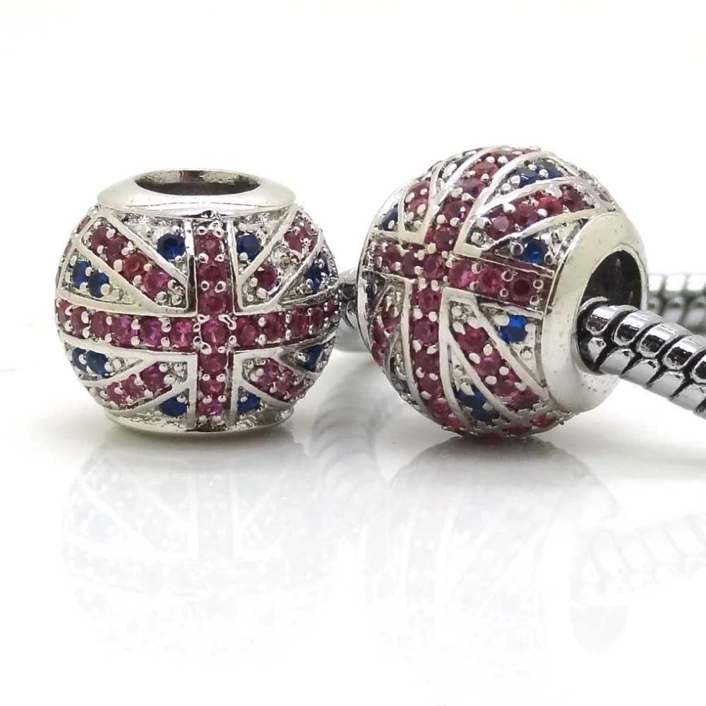 2PCS Silver Color Micro Pave UK/England Flag Style CZ Cubic Zircon Beads  Charms Fit Pandora Charms European Bracelets