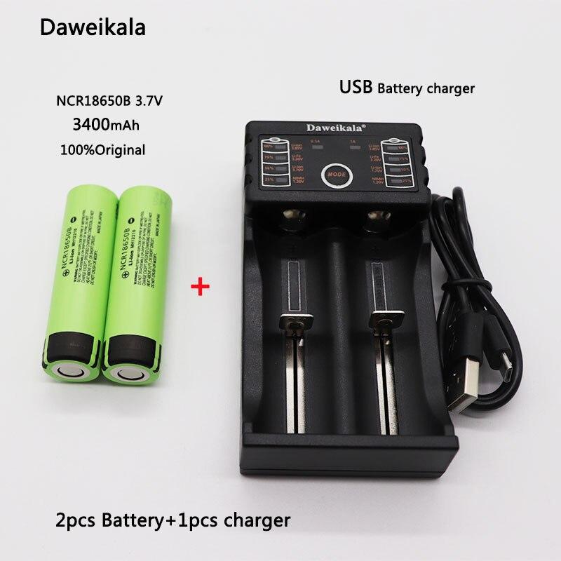2 stücke Daweikala Für Panasonic NCR18650B 3,7 V 3400 mAh 18650 Wiederaufladbare Li-Ion 3,7 V batterie 3400 mAh + 1 stücke Ladegerät + Kostenloser versand
