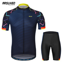 ARSUXEO Men's Quick Dry Cycling Jersey Set Short Sleeves Bike Clothing Road Bicycle Sets Sport Suit Breathable Mtb Clothes fashion luggage inches girl trolley case pp students lovely travel waterproof luggage rolling suitcase extension boarding