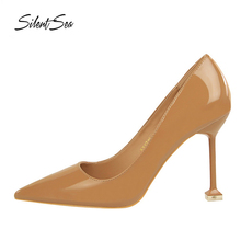 Silentsea PU Leather OL Office Women Pumps 9.5cm Thin Heels Stilettos All-match Trendy High Heel Shoes For Lady Camel Color